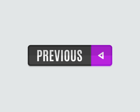 top pointer: Previous web button, back. Modern flat design, paper graphic, website icon and design element