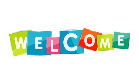 acogida: Palabras de bienvenida con cada letra en la placa cuadrada separada o bloque. Moderno colorido geom�trico t�tulo, bot�n o icono