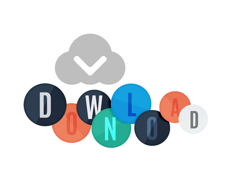 color separation: Download button made of glossy circles. Each letter on a separate circle. Illustration