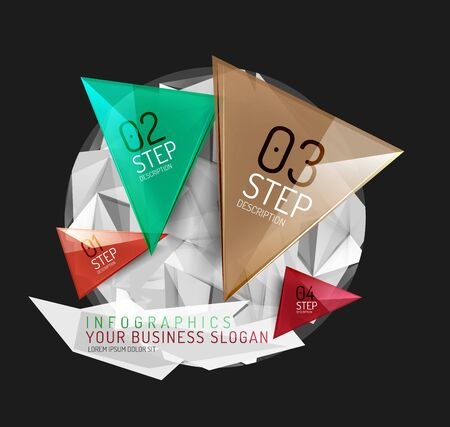 Infographics di carta origami moderno, business design astratto poligonale