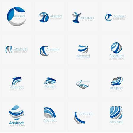 Set of light blue abstract geometric business company logos. Clean modern design of flowing elements. Illustration