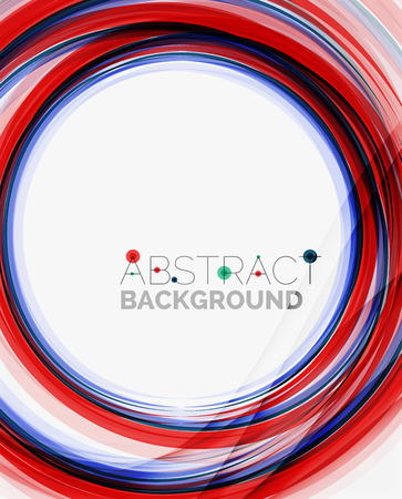 yellow line: Fresh blue and red wave line. Abstract background Illustration