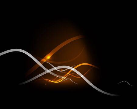 dynamic heat black: Orange dynamic wave in dark space. Vector illustration. Abstract background Illustration