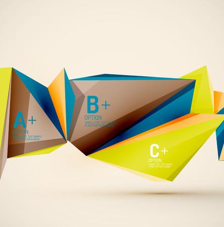 interface web: Formes g�om�triques 3D dans l'air. Vector abstract background. Affaires futuriste disposition de la pr�sentation ou de l'interface Web ou le couvercle de l'application. Composition universelle