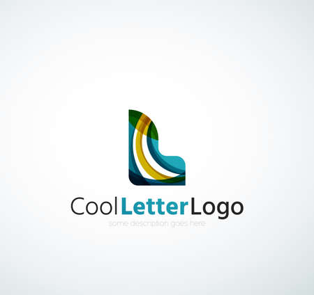 Letter company  design. Clean modern abstract concept made of overlapping flowing wave shapes Ilustração