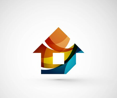 idea icon: Abstract geometric company  home, house, building. Vector illustration of universal shape concept made of various wave overlapping elements Illustration