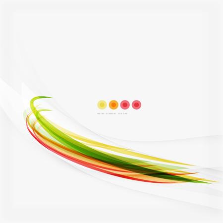 Orange och gröna vågen line design, natur eco koncept. Sommar och våren mallar
