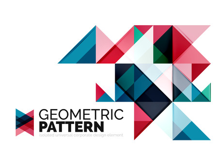 triangle pattern: Geometric triangle mosaic pattern element isolated on white. Universal business identity element. Abstract background, online presentation website element, business identity or mobile app cover Illustration
