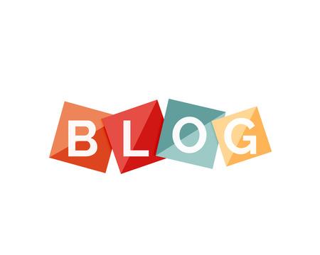 Słowo blog koncepcja na kolorowych geometrycznych kształtach. Banner, button www. ilustracji dla sieci Web lub wiadomości strona internetowa, prezentacji lub aplikacji