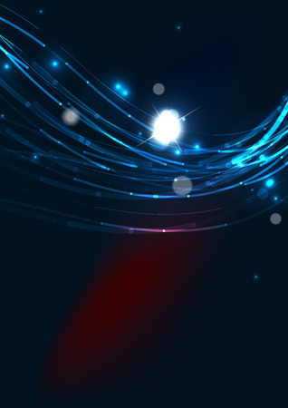 black star: Abstract color glowing lines in dark space with stars and light effects. Futuristic wave background with copyspace for your message Illustration