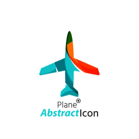 business travel: Abstract geometric business corporate emblem - airplane.  icon design for travel or any other idea