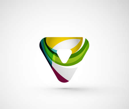 Abstract geometric company logo triangle, arrow. Vector illustration of universal shape concept made of various wave overlapping elements Illustration