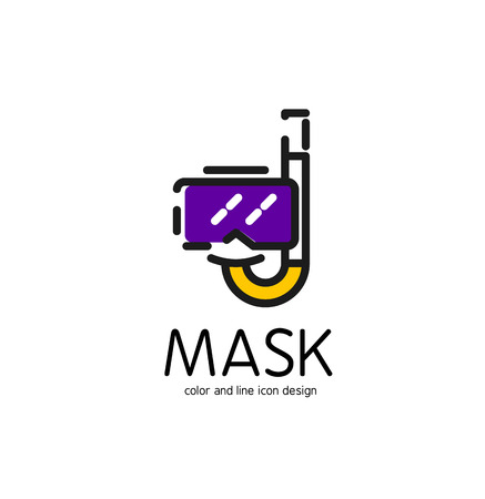 white mask: Color line icon for flat design isolated on white. Mask and snorkel