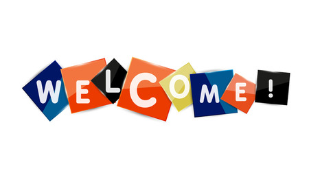 Welcome word on color square paper pieces, abstract banner or button. Web button or message for online web site, presentation or application Stock Vector - 42369502