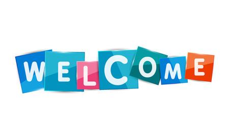 bienvenidos: Palabras de bienvenida con cada letra en la placa cuadrada separada o bloque. Moderno colorido geom�trico t�tulo, bot�n o icono