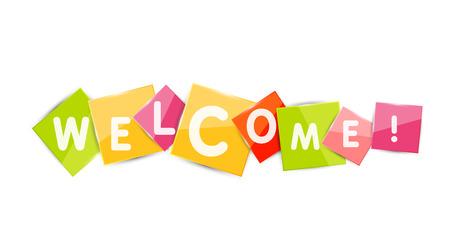 Welkom woord over kleur vierkante stukjes papier, banner of button. Web knop of boodschap voor online website, presentatie of applicatie
