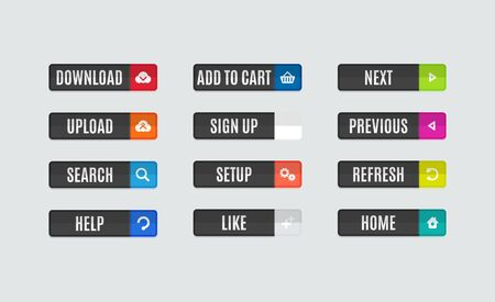 website buttons: Set of modern flat design website navigation buttons. Rectangle shape. Help like search download upload setup sign up add to cart next previous refresh home icons Illustration