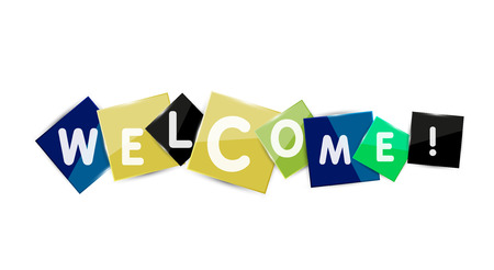 Welcome word on color square paper pieces, abstract banner or button. Web button or message for online web site, presentation or application Stock Vector - 42508734