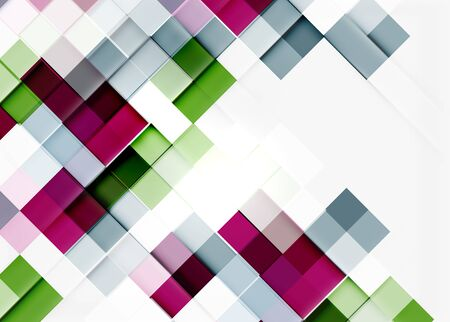 square abstract: Square shape mosaic pattern design. Universal modern composition. Clean colorful mosaic tile background with copyspace. Abstract background, online presentation website element or mobile app cover