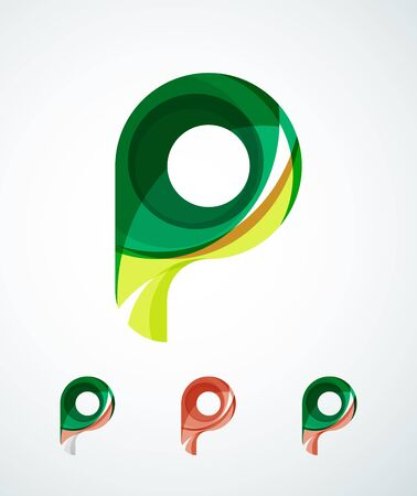 p illustration: Letter company logo design. Clean modern abstract concept made of overlapping flowing wave shapes