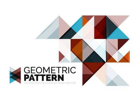 online business: Geometric triangle mosaic pattern element isolated on white. Universal business identity element. Abstract background, online presentation website element, business identity or mobile app cover Illustration