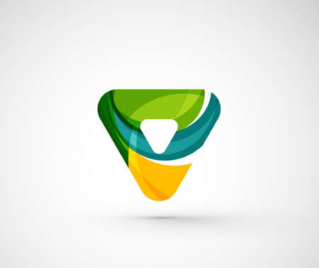 shape triangle: Abstract geometric company logo triangle, arrow. Vector illustration of universal shape concept made of various wave overlapping elements Illustration
