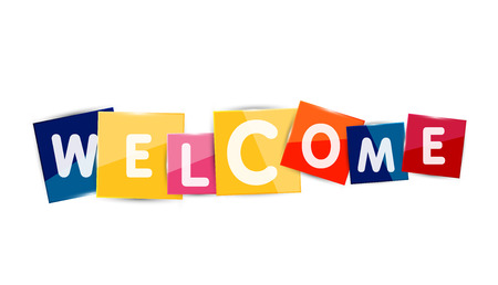welcome: Welcome word on color square paper pieces, abstract banner or button. Web button or message for online web site, presentation or application