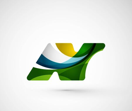 letter n: Abstract geometric company logo N letter. Vector illustration of universal shape concept made of various wave overlapping elements