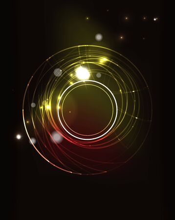 black light: Glowing circle and blending colors in dark space. Vector illustration. Abstract background
