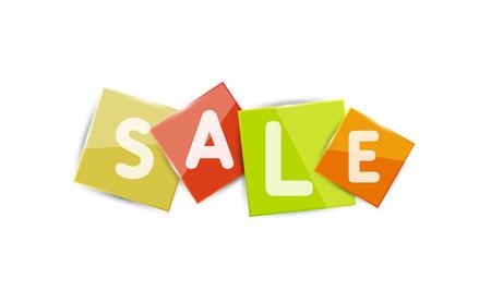 color separation: Sale word label banner, letters on geometric shapes. Web button or message for online web site, presentation or application Illustration