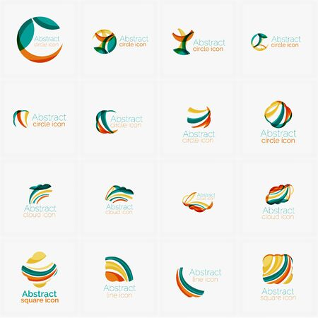 minimalistic: Set of light abstract geometric business company logos. Clean modern design of flowing elements. Illustration Stock Photo