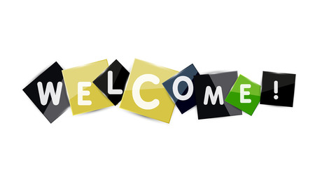 Welcome word on color square paper pieces, abstract banner or button. Web button or message for online web site, presentation or application Stock Vector - 42725555