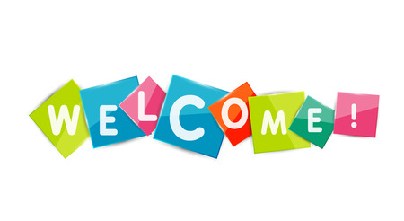 bienvenida: Palabras de bienvenida a la de color pedazos de papel cuadrado, banner o botón abstracto. Botón de Web o un mensaje para el sitio Web en línea, presentación o aplicación Vectores