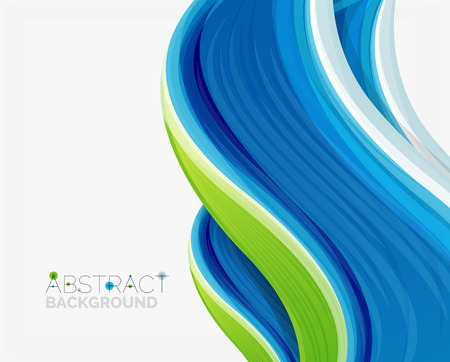 blue and green: Abstract realistic solid wave background. Vector illustration