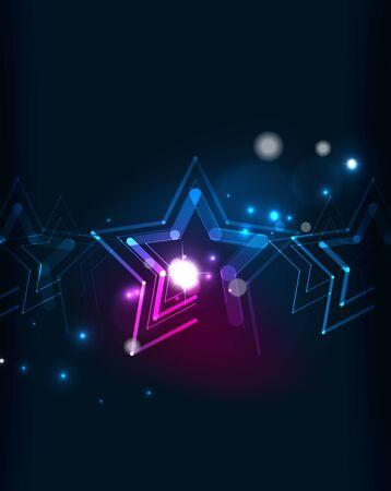 blending: Glowing star and blending colors in dark space. Vector illustration. Abstract background