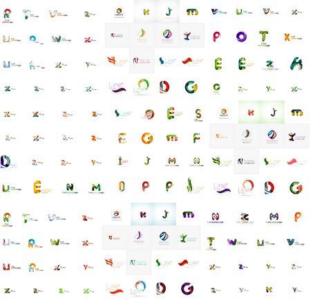 Mega set of geomeric letter company logos. Corporate business branding design elements
