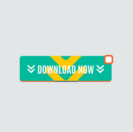 web site design: Colorful download web button with arrow. Modern flat design, paper graphic, website icon and design element