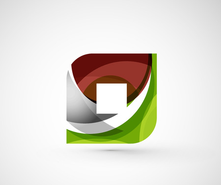 rhomb: Abstract geometric company icon square, rhomb. Vector illustration of universal shape concept made of various wave overlapping elements