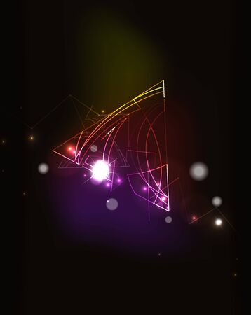 blending: Glowing elements and blending colors in dark space. Vector illustration. Abstract background