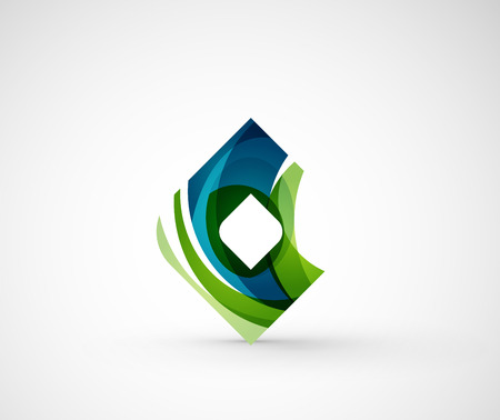 rhomb: Abstract geometric company  square, rhomb. Vector illustration of universal shape concept made of various wave overlapping elements Illustration
