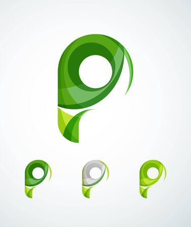 letter p: Letter company logo design. Clean modern abstract concept made of overlapping flowing wave shapes