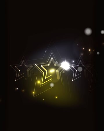 background lines: Glowing star and blending colors in dark space. Vector illustration. Abstract background