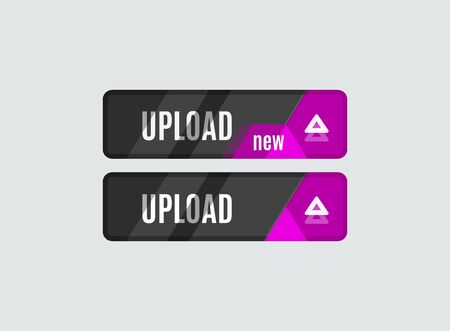 ui: Upload button, futuristic hi-tech UI design. Website, mobile applications icon, online design, business, gui or ui