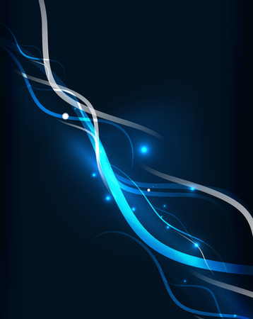 graphics design: Blue dynamic waves in dark space.