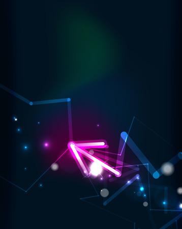 blending: Glowing arrow and blending colors in dark space.