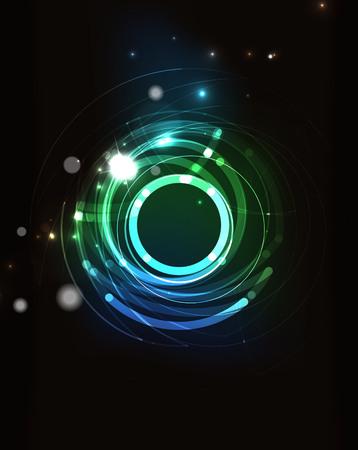 Gloeiende cirkel en het mengen van kleuren in de donkere ruimte.