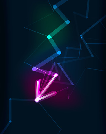 blending: Glowing arrow and blending colors in dark space. Vector illustration. Abstract background Illustration