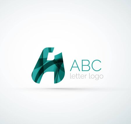 created: Vector alphabet letter logo. Created with transparent colorful overlapping geometric shapes, waves and flowing shapes