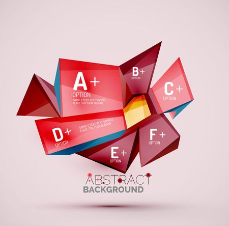 abstract cubes: 3d geometric shapes with sample text. Abstract template with place for text or infographic options. Triangles, squares, cubes, rectangles in glossy style. Vector illustration.