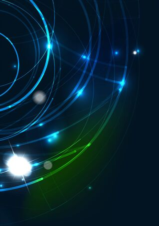 bright space: Abstract color glowing lines in dark space with stars and light effects. Futuristic circle background with copyspace for your message